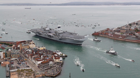 Britain's future flagship HMS Queen Elizabeth sailed into her home port of Portsmouth for the first time today.